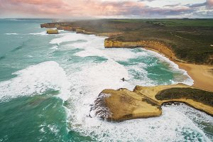 Great Ocean Road coastline aerial