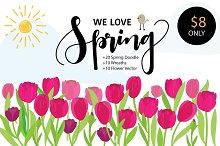 WE LOVE SPRING VECTOR ELEMENTS
