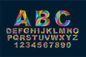 Full Color Alphabet + Numbers Vector