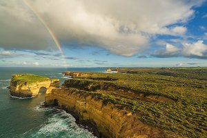 Rainbow at 12 Apostles aerial view