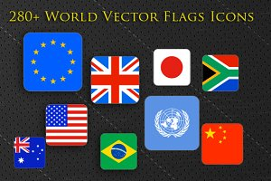 280+ World Flags Squared Icons