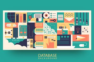 Cloud database flat background