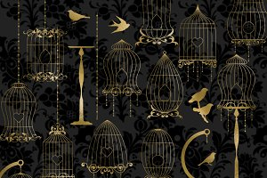 Gold Bird Cage Clipart