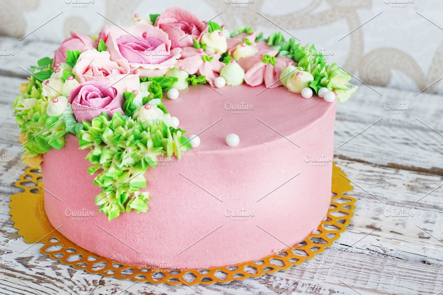 Birthday Cake With Flowers Rose On White Background Food Drink Photos Creative Market