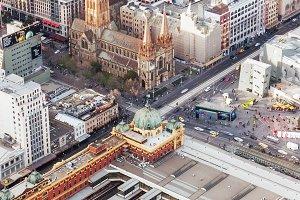 Flinders Street Station aerial view