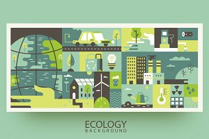Ecology design background flat