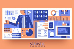 Statistic business flat background