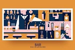 Bar and bartender background flat