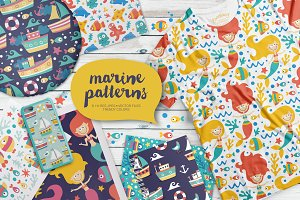 Set of 8 Seamless Marine Patterns
