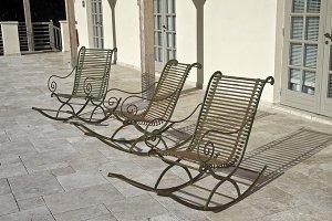 Three empty chairs.