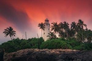 Lighthouse at sunset Beruwala