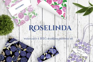 ROSELINDA 6 Set Watercolor Patterns