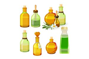 Colourful bottles with aroma oils isolated on white background. Vector