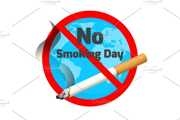 No Smoking Day Ashtray And Cigarette With Red Alert Sign