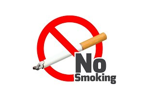 No smoking sign. Red alert symbol cross cigarette on white.