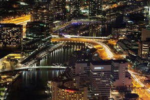 Night view of Yarra River, Melbourne