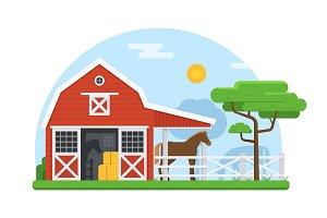 Horse Stable Rural Landscape
