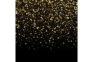 Gold confetti glitter on black background