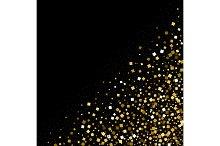 Gold confetti glitter on black background