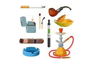 Cigarettes, cigars, hookahs, tobacco leaves, ceremonial pipe, lighter and ashtray.