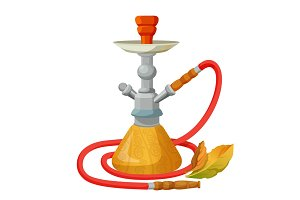 Hookah calabash with one long red pipe isolated on white