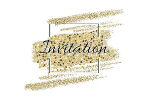 Invitation card with golden sparkling stars and glittering elements