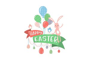 Vector illustration of happy easter greeting concept
