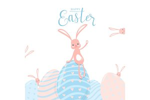 Vector illustration of cute pastel color happy easter greeting concept
