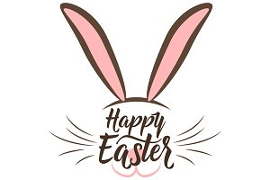 Vector illustration of cute fun happy easter greeting with easter bunny