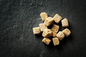 Brown organic sugar cubes