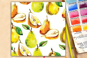 Watercolor seampless patterns pears