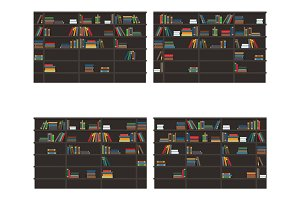 Set of Bookshelves Filled with Books Flat Vector