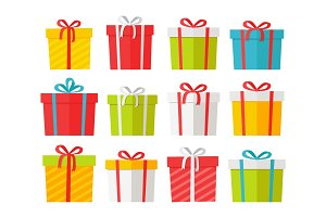 Colourful Christmas Boxes Set Isolated on White.
