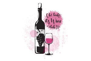 Vector illustration of drink related typographic quote. Wine old logo design
