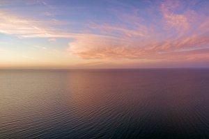 Beautiful sunrise at sea aerial view