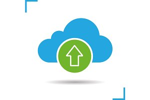 Cloud storage files upload. Vector