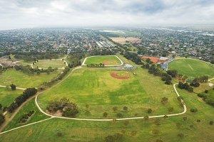 Melbourne park urban aerial view