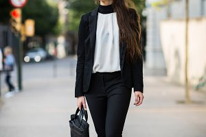A businesswoman in the city