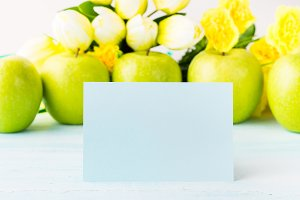 Apples pastel green yellow background blank card