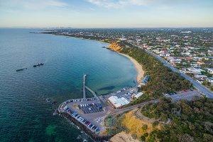 Aerial view of Black Rock pier