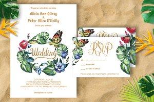 Tropical Wedding invitation DiY