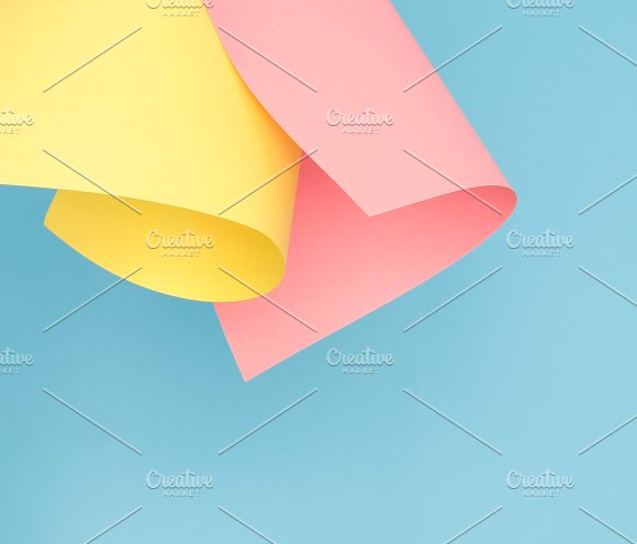 Pink, blue, yellow paper texture.