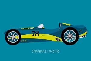retro modern racing car