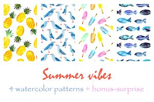 Watercolor summer patterns (4+bonus)