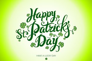 Happy Saint Patricks Day lettering
