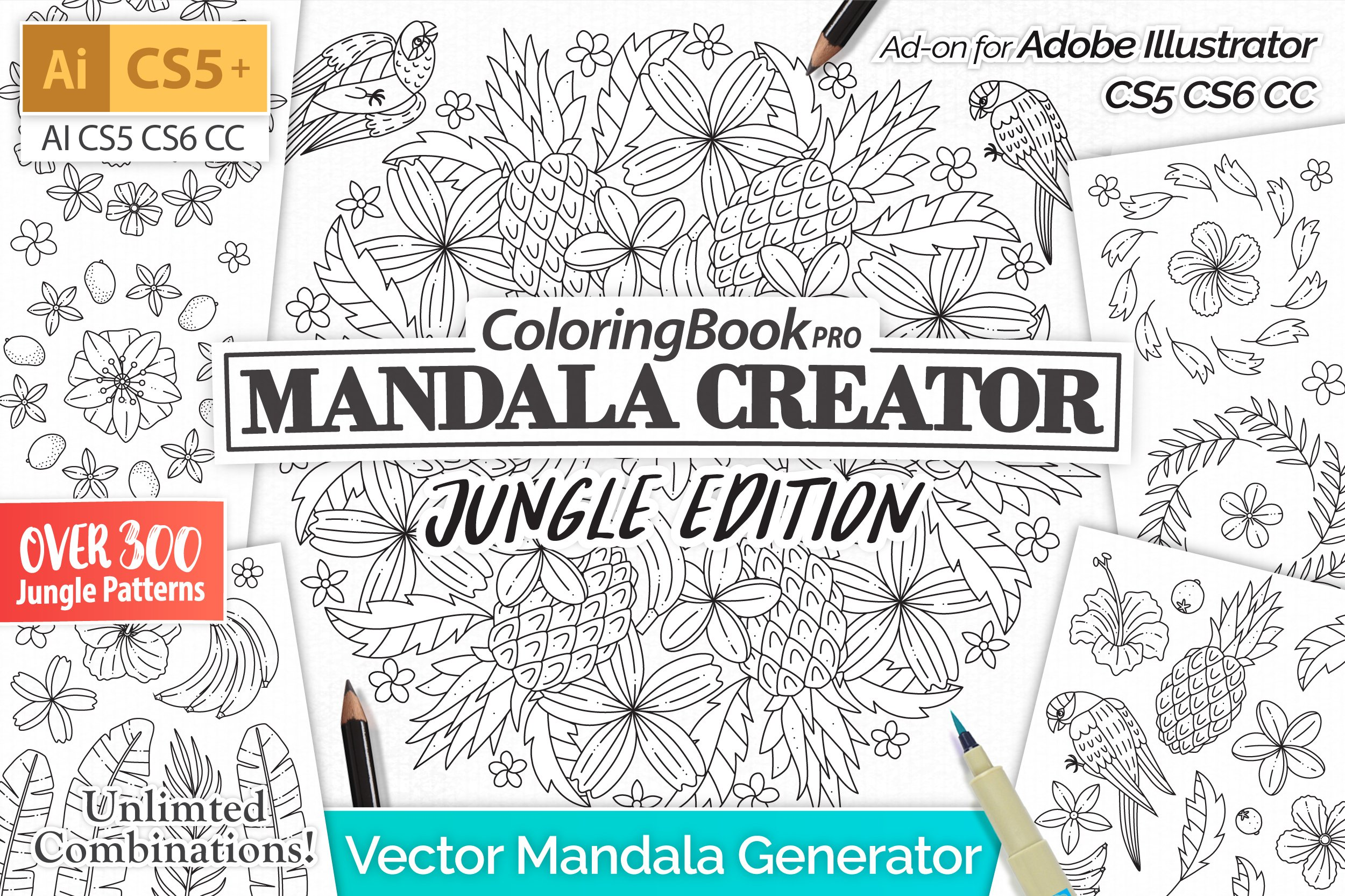 bd624ec5d Mandala Creator Jungle Edition ~ Illustrator Add-Ons ~ Creative Market