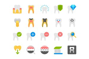 Dental flat icons vector set