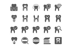 Dental icons vector set