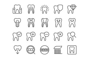 Dental flat thin line icons