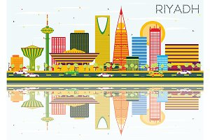 Riyadh Skyline with Color Buildings